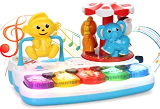 Baby Musical Toys Animal Amusement Park with Light, Kids Baby Toddler Piano Keyboard, Educational Learning Light Up Toys for Babies 12 18 Months Developmental, Baby Music Toys for 1 Year Old Boy Girl