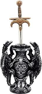 Ebros Legends of The Sword Climbing Dual Dragon Letter Opener Asgard Dagger with Base Study Office Desktop Decor Statue