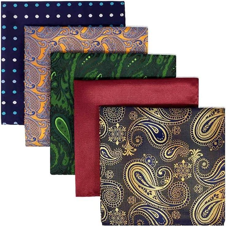 SLATIOM 5 Pieces Colorful Assorted Mens Pocket Square Silk Classic Handkerchief Set Gift Colorful (Color : C)