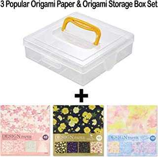Beautiful Japanese Origami Paper (a.k.a. Chiyogami), Each Contains Four Different Designs, Made in Japan (Storage Box Set)