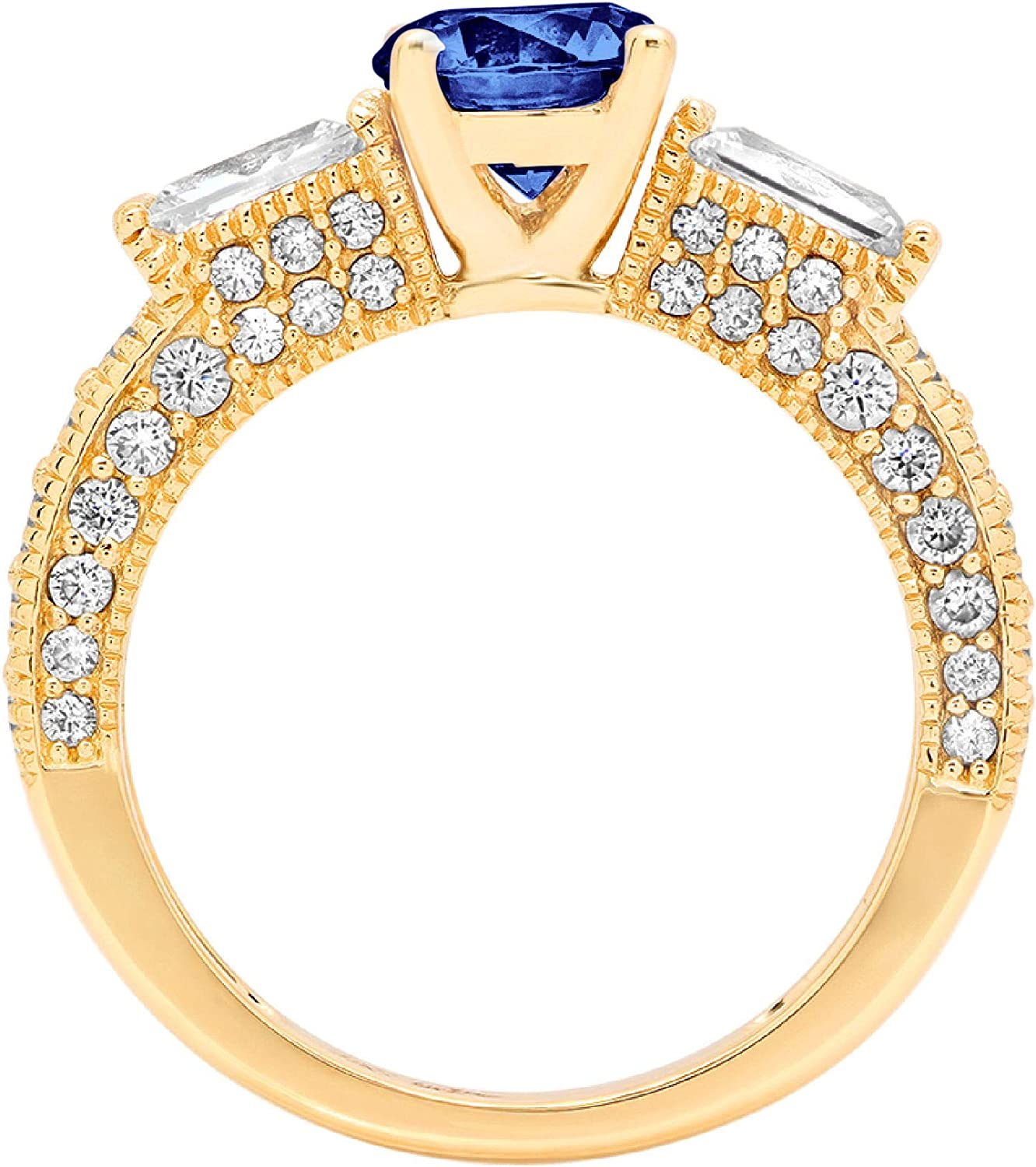 2.33 ct Round Baguette Cut 3 stone Solitaire Flawless Ideal VVS1 Simulated Tanzanite Ideal Engagement Promise Statement Anniversary Bridal Wedding with accent Designer Ring 14k Yellow Gold