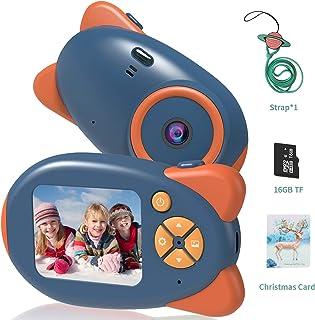 Vannico Camara de Fotos para Niños Camara para Niños Cámara Digital 1080P HD Video Niña 3-10 Años16GB Tarjeta SD y Acollador (Azul)