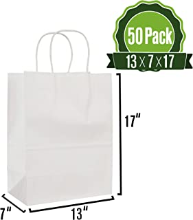 White Kraft Paper Gift Bags Bulk with Handles 13 X 7 X 17 [50Pc]. Ideal for Shopping, Packaging, Retail, Party, Craft, Gifts, Wedding, Recycled, Business, Goody and Merchandise Bag
