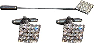 Remo Sartori - Set Gemelli da Polso e Spillone Cravatta Sposo con Cristalli Swaroski, Made In Italy, Uomo