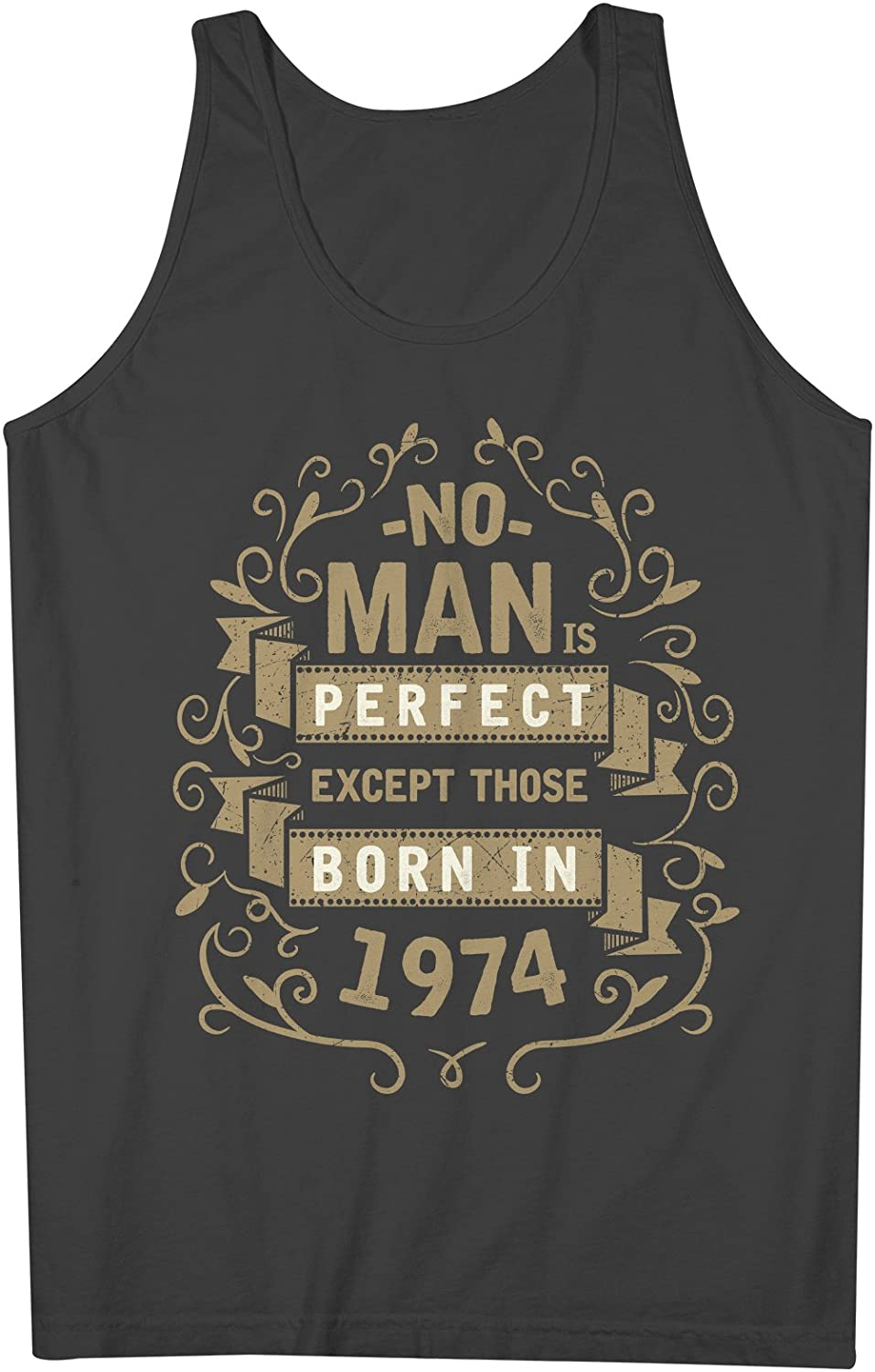 No Man Is Perfect Except Those Born In 1974 お誕生日 男性用 Tank Top Sleeveless Shirt
