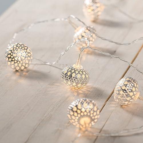 Guirlande Lumineuse 10 Boules Marocaines Argentées LED Blanc Chaud à Piles Lights4fun