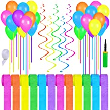 Supla 66 Pack Easter Party Decor Kit Hanging Easter Decorations Party Backdrop Crepe Paper Decorative Streamers Pink Yellow Purple Green Balloons for Easter Kid Party Baby Showers Classroom Decor
