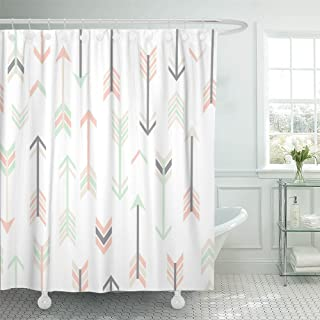 Emvency Shower Curtain Waterproof Polyester Fabric 72 x 72 inches Cute Abstract Modern with Arrows in Tender Colors Aztec Tribal Grey Mint Peach Set with Hooks Decorative Bathroom