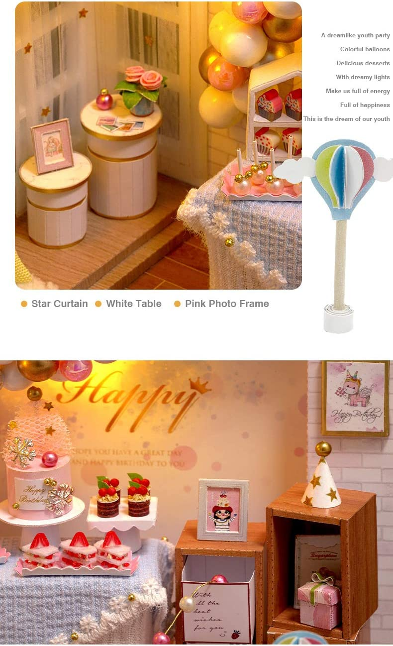 Miniature Dollhouse Kits Pink DIY Dollhouse Kit Sweet Handmade Gift for Girls//Women Home Decoration Loft Dollhouse Furniture with Music Box and Dust Cover