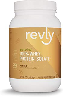Amazon Brand - Revly 100% Grass-Fed Whey Protein Isolate Powder, Vanilla, 2.05 lbs, 30 Servings, Gluten Free, Non-GMO, No added rbgh/rbst‡