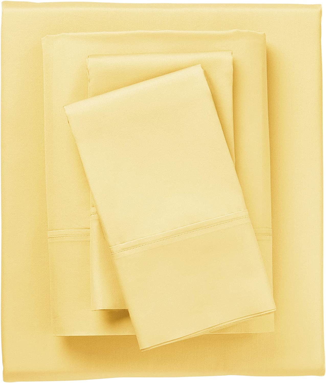 Amazon Com Brylanehome Bed Tite 500 Tc Pure Cotton Sheet Set Queen Yellow Home Kitchen