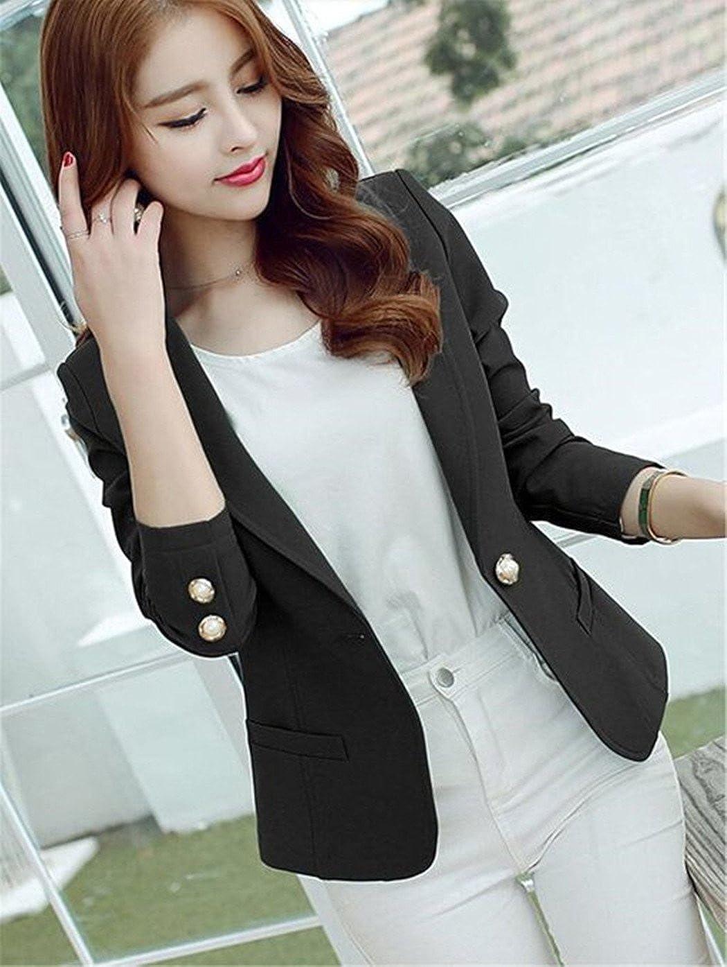 Womens Long Sleeve Falbala Solid Slim Casual Suit Jacket Blazer Coat