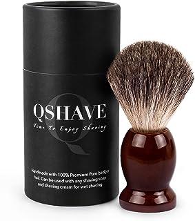 qshave Brocha de afeitar hecho a mano de 100% pelo de blaireaus auténtico y puros con mango de madera. La elección para el...