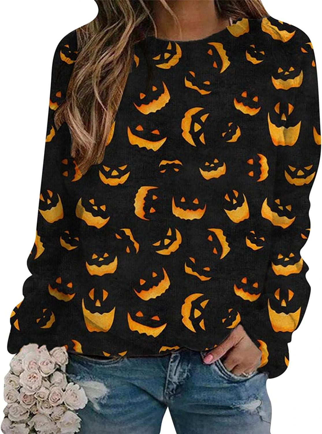 AODONG Halloween Sweatshirts for Womens Funny Pumpkin Graphic Sweatshirts Long Sleeves Pullover Blouse Tops