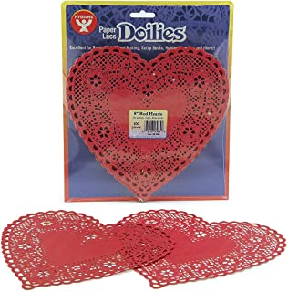 Hygloss Products Heart Paper Doilies – 8 Inch Red Lace Doily for Decorations, Crafts, Parties, 100 Pack