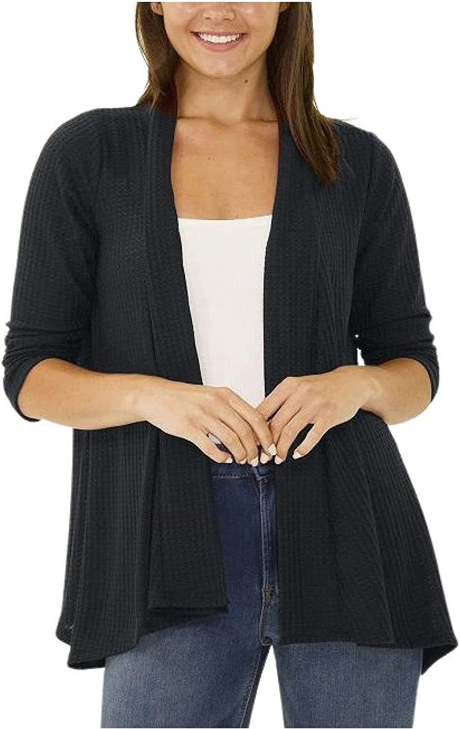 NY Collection 3/4 Sleeve Open Front Waffle Weave Cardigan