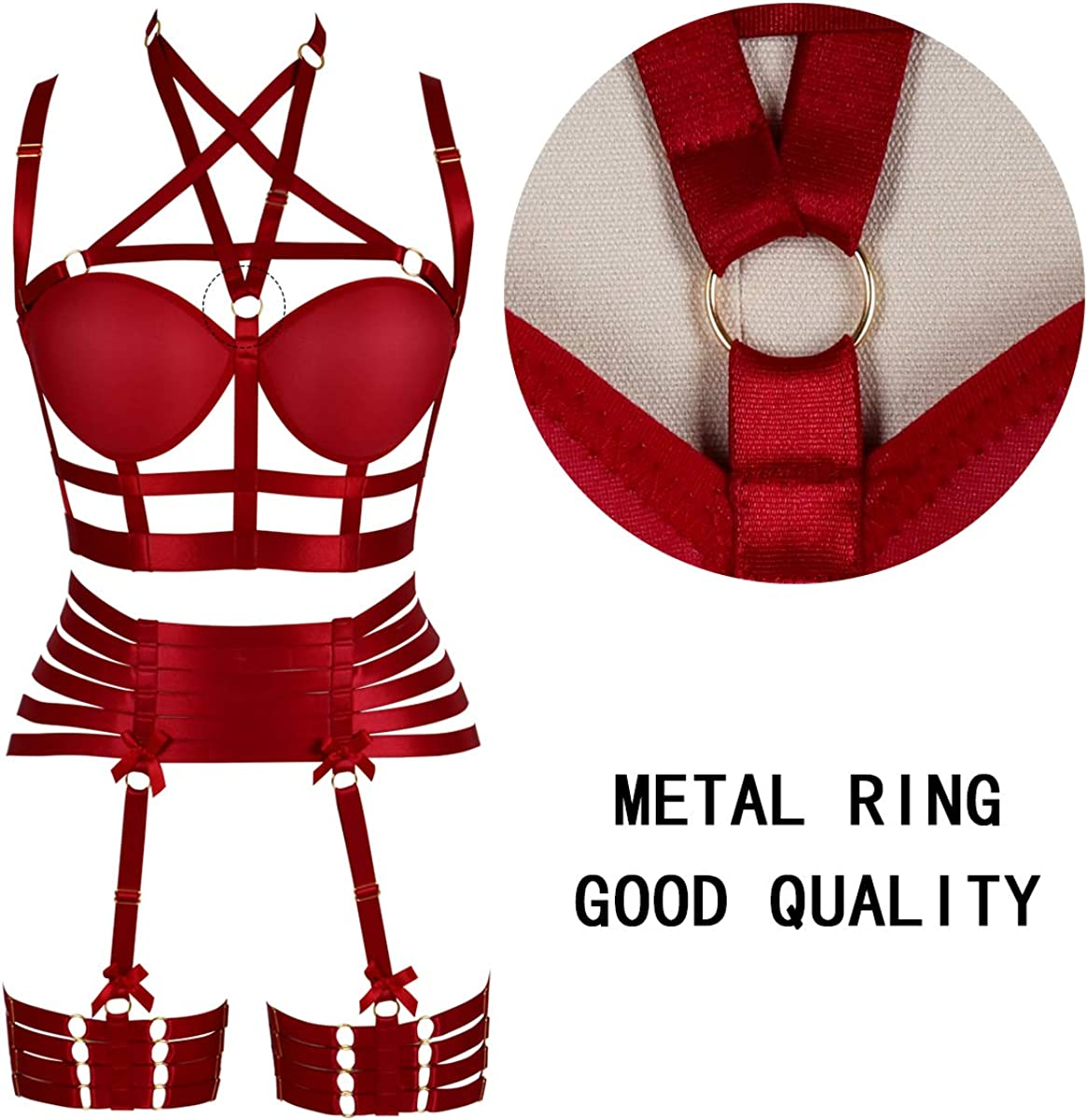 PETMHS Womens Body Harness Lingerie Garter Belt Set Strap Full Cage Pentagram Bra Hollow Punk Goth Festival Rave