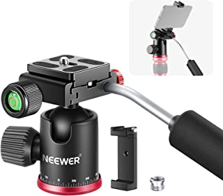 Neewer Mini Tripod Head Camera Ball Head with Handle, Phone Clamp and 2-Pack 1/4 inch Quick Shoe Plate, 360 Degree Panoram...
