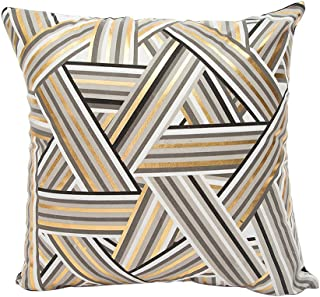 MHB Gold Foil Throw Pillow Cover Decorative Yellow Stripes Accent Pillows 18 x 18 Inch