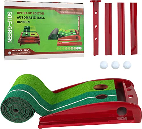 2021 ORIENTOOLS Golf Putting Green Mat 2021 with Auto Ball Return System, Wood Golf Training Mat with 3 Golf Balls, Portable Mini Golf Game new arrival Practice Equipment, Gift for Home, Office, Backyard Use outlet online sale