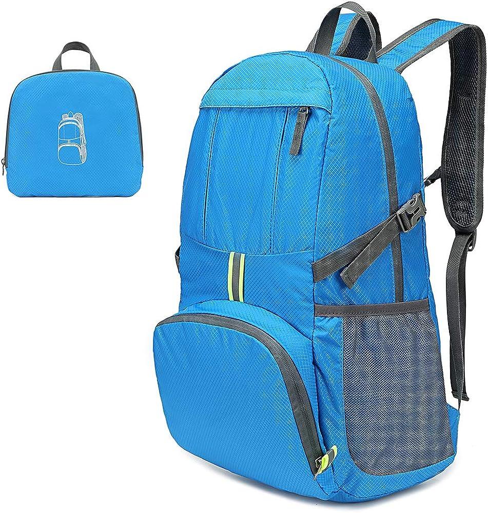 Lixada Wanderrucksack Rucksack 35L Leichte Klapprucksack Wasserabweisende Tasche Pack f/ür Camping Wandern Reisen Schule
