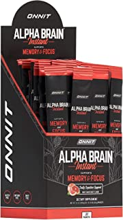 ONNIT Alpha Brain Instant - Ruby Grapefruit Flavor - Nootropic Brain Booster Memory Supplement - Brain Support for Focus, ...