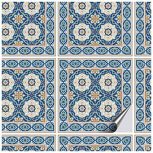 FoLIESEN 16 Fliesenaufkleber + Rakel - 15x15 cm - Fliesen-Folie Bad - Klebefolie Küche, Orientalische Azulejos