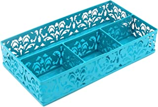 EasyPAG Desk Drawer Organizer with 3 Small Bins and 1 Long Bin,Dark Teal