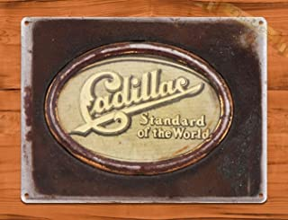 heigudan TIN Sign Cadillac Standard of The World Retro Wall Art Auto Decor