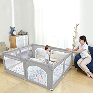EAQ Large Baby Playpen, Indoor & Outdoor Kids Activity Center with Anti-Slip Base, Sturdy Safety Play Yard with Super Soft Breathable Mesh, Kid's Fence for Infants Toddlers(Grey)