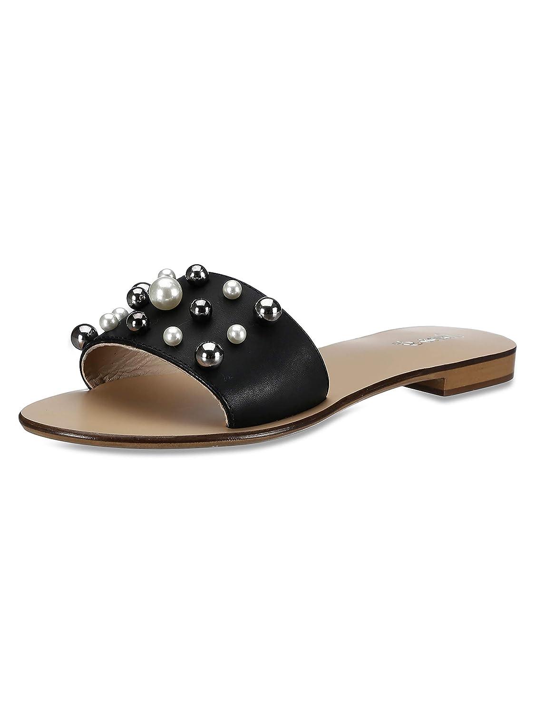 Buy Saint G Womens Black Vachetta Leather Pearl Flats Pearls Womens Sandals  Womens Leather Fashion Sandals Leather Slip On at Amazon.in