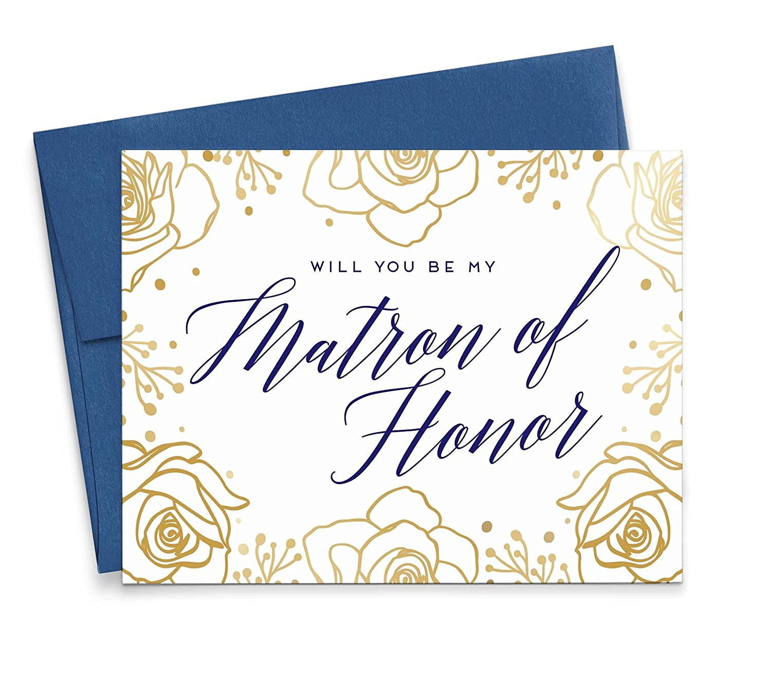 Gold Floral Will You Be My Time sale Honor Matron of Seattle Mall Elegant Card