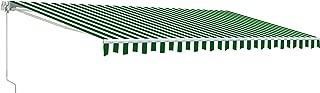 ALEKO AWM13X10GWSTR00 Retractable Motorized Patio Awning 13 x 10 Feet Green and White Striped