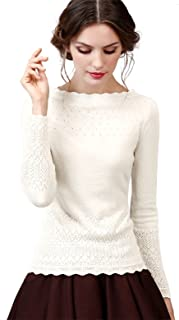 Women's Vintage Slim Knit Wool Blend Sweaters Pullover with Long Sleeves Base Layer Tops