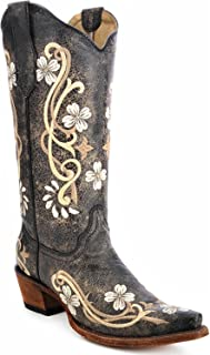 Corral Women's Circle G L5175 Multi-Colored Embroidered Leather Cowgirl Boots, Black, 5 Medium