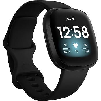 Fitbit Versa 3 Smartwatch per Benessere e Forma Fisica con GPS Integrato, Rilevazione Continua del Battito Cardiaco, Assistente Vocale e Durata della Batteria oltre 6 Giorni