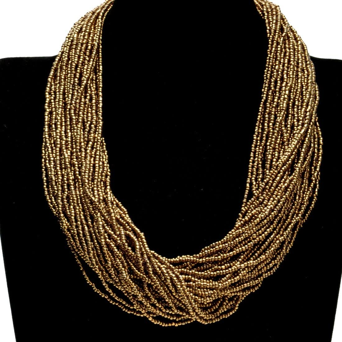 Fashion Multilayer Seed Bead Chain Choker Collar Necklace Earrings Set Cluster Strand Handmade Bib Statement Necklace