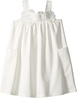 Flowers Embroideries Pockets Details Dress (Toddler/Little Kids)