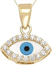 Jewel Connection 14K Yellow Gold Evil Eye CZ Good Luck Pendant with Chain