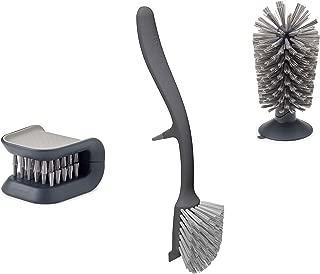 Joseph Joseph Kitchen Set Knife and Cutlery Cleaner Dish Glass Brush, 3-piece Gray