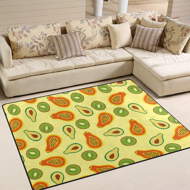 Avocado Kiwi Fruit Papaya Area Rugs 80 x 58 Inch Door Mats Indoor Polyester Non Slip Multi Rectangle Doormat Kitchen Floor Runner Decoration Home Bedroom Living Dining Room