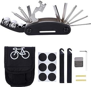 自転車修理ツールキット バイク 16イン1 多機能修復道具 タイヤパッチ そして レバー 緊急用 パンク修理 工具