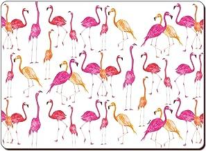 CounterArt Set of 2 Hardboard Placemats, Flamingos