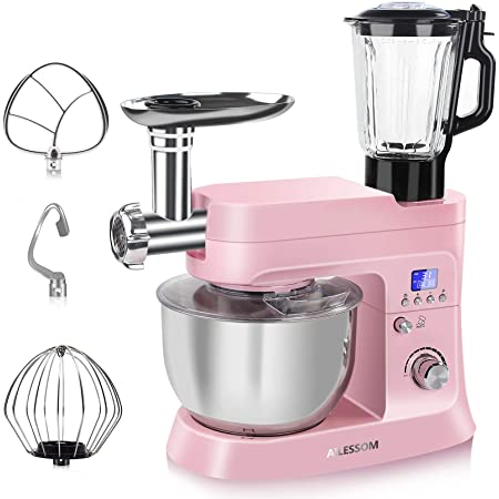 AILESSOM 8 in 1 Stand Mixer , 800W Tilt-Head 6.5 QT. Multifunctional Electric Kitchen Mixer with Timer , Meat Grinder, Blender, 10 Speeds & Pulse, Planetary Mixing, Stainless Steel Bowl, Dough Hook, Flat Beater, Wire Whip, Pasta Make, Sausage, Cookie Press