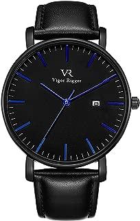 Vigor Rigger Men's Watch Simple Thin Quartz Leather Strap Wrist Watches