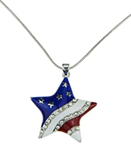 Red White Blue Patriotic American USA Flag Star Pendant Silver Necklace Beautiful Gift Jewelry