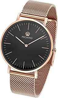 Womens Man Rose Gold Stainless Steel Watch — Ultra Thin Fashion Dress Watch for Women/Men Couples Wristwatch Waterproof Sapphire Crystal Extra Genuine Leather Band