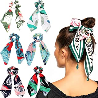6Pcs Hair Scrunchies Satin Silk Hair Scarf Band Ponytail Holder Elastics Scrunchy Ties Soft Ropes for Women Girls Hair Acc...