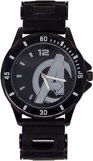 ساعة مارفل للرجال كوارتز ستيل بسوار مطاطي، اسود، 22 موديل AVG1524AZ)