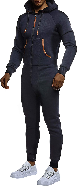 Leif Nelson Herren Overall Jumpsuit Onesie Trainingsanzug Jogginghose Fitness Einteiler Bekleidung LN8270